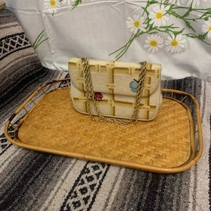 Vintage Accents - Vintage woven bamboo wicker tray